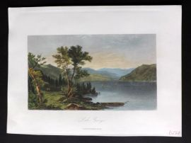 Picturesque America 1873 Hand Col Print. Lake George, New York